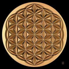 Flower of Life by David Voutsinas Islamic Art Pattern, Pattern Art, Yoga Studio Design, Flower Of Life, Flower Art, Geometric Symbols, Wood Carving Designs, Chip Carving, Wood Engraving