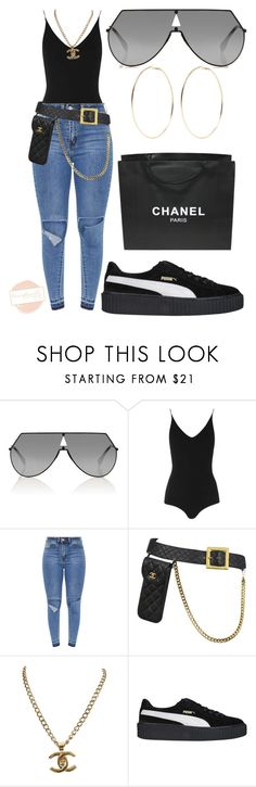 """""""Untitled #712"""" by lexceptionallystyled ❤ liked on Polyvore featuring Fendi, Topshop, Chanel, Puma and Kenneth Jay Lane"""