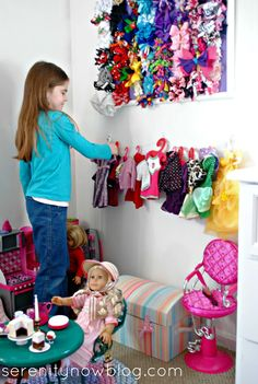 """Make your own """"Clothesline"""" display for American Girl Doll Clothes, from Serenity Now"""