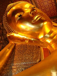 I looked up this nostril and and knew that a giant replica of my body incased in pure gold is how I would also like to be memorialized...work it out peeps...    The Reclining Buddha--Bankok, Thailand
