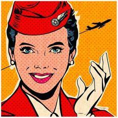 attendant red Art Print by Bruno Pozzo Bd Pop Art, Pop Art Girl, Comic Books Art, Comic Art, Book Art, Pop Art Drawing, Art Drawings, Drawing Ideas, Pop Art Vintage