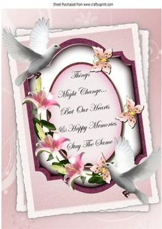A pretty lily sympathy plaque with doves A4 on Craftsuprint - Add To Basket!