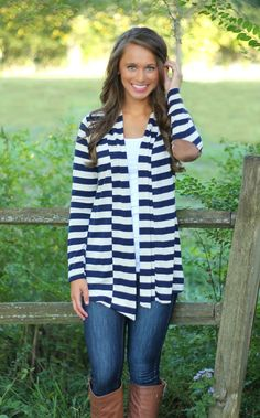 The Pink Lily Boutique - Navy Stripe Patch Cardigan, $36.00 (http://www.thepinklilyboutique.com/navy-stripe-patch-cardigan/)