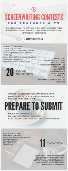 Screenwriting Contests are the perfect way to get your script seen. Submit your screenplay to the right screenwriting competition for you by checking out the full post. Click the image above to take you there!