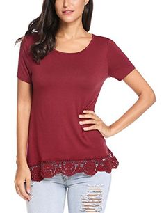 Special Offer: $13.99 amazon.com Meaneor Women Short Sleeve Cotton Tunic Top Lace Trim Casual Loose Shirt ——————– * Simple and elegant tunic top with lace trim and high-low hem * It's a all season shirt that can be worn separately with leggings...