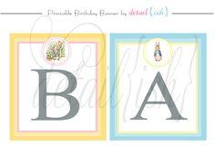 PRINTABLE Peter Rabbit Baby Shower Banner  DIY 445 by DigiLatte, $10.00