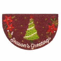 Christmas Rug Holiday Gift Seasons Greetings Coir Slice Door Mat New Year