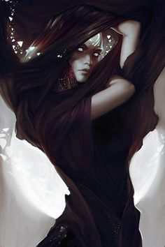 Creature Drawing Fetchling / shadow creature / shadow summoner / shadow sorcerer female character spellcaster for Pathfinder / DnD / fantasy setting - Dark Fantasy Art, Fantasy Women, Fantasy Artwork, Dark Art, Gothic Artwork, Digital Art Fantasy, Fantasy Portraits, Fantasy Inspiration, Character Inspiration