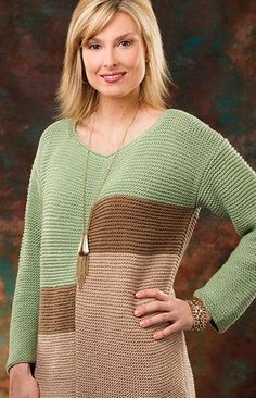 Knitting Pattern Hudson Valley Tunic - Garter stitch color blocks make this long sleeved pullover sweater stylish yet easy.