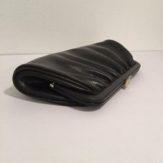 Vintage Black Clutch with Fold-out Handle by MyVintagePoint
