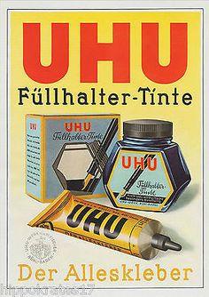 Alleskleber Kleber Füllhalter-Tinte UHU Werk Bühl Werbung 1941 Reklame (A) • EUR…