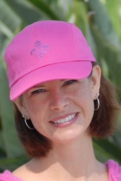 Hot Pink Baseball Hat with Fleur de Lis in Rose Crystals.  Made with Swarovski Elements.
