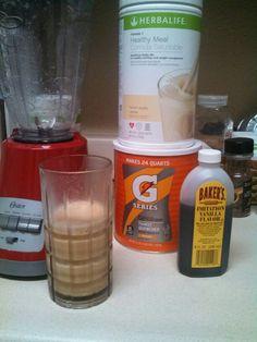 Orange Dreamsicle: Ice, 2 tbls orange Gatorade drink mix, 2 tsp vanilla extract, 2 scoops Herbalife vanilla shake mix