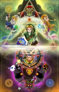 Ocarina of Time and Majora's Mask The Legend Of Zelda, Legend Of Zelda Tattoos, Legend Of Zelda Breath, Zelda Hyrule Warriors, Majora Mask, Nintendo World, Beautiful Fantasy Art, Shadow The Hedgehog, Gaming Wallpapers
