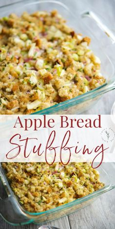 This Apple Bread Stuffing made with herbed stuffing mix, fresh parsley and sage, celery, onions and apples is so delicious and easy to make. #thanksgiving #apples #stuffing #sidedish Apple Recipes, Veggie Recipes, Vegetarian Recipes, Cooking Recipes, Fall Recipes, Holiday Recipes, Vegetarian Lifestyle, Vitamix Recipes, Cookbook Recipes