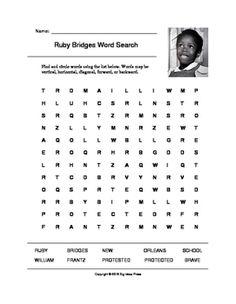 Ruby Bridges Word Search (Grades 3-5) at #teacherspayteachers