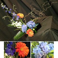 Something beautiful Monday! Evidently, we're in a mod mood these days. Electric blue delphinium is starring in this week's arrangement again with a plethora of curly willow, orange gerbers, blue hydrangea and blue thistle! #somethingbeautiful #flowers #wmbg #williamsburgva #lovewmbg