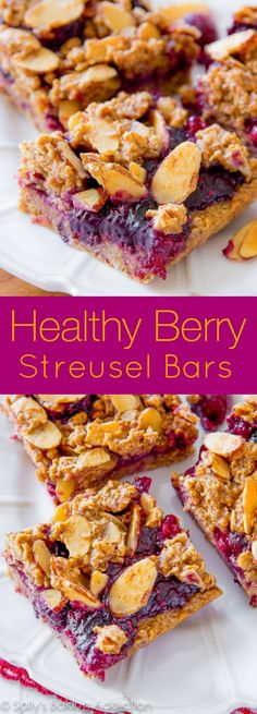 Healthy Berry Streusel Bars recipe on sallysbakingaddiction.com