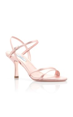Prada's strappy sandals are crafted in a barely-there silhouette with a sturdy three-inch heel. Designed in a metallic finish, this high-shine pair works best with cool color-palettes—be it dark-wash denim or navy cocktail attire. Metallic Sandals, Strappy Sandals, Women's Shoes Sandals, Leather Sandals, Heels, Cool Color Palette, Color Palettes, Cocktail Attire, Prada Shoes