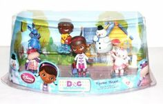 Disney Junior Doc McStuffins Figurine Playset by Disney. $29.95. figures include: Doc McStuffins, Lambie, Stuffy, Hallie, Chilly & Donny McStuffins. includes 6 PVC figures. range in size from approx. 2 inches to 3 inches. 6 figure Doc McStuffins figurine set. Includes Doc McStuffins, Lambie, Stuffy, Hallie, Chilly & Donny McStuffins. Ages 3 years+.