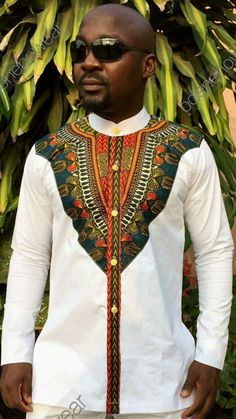 Odeneho Wear Men's White Polished Cotton Top With Dashiki. African Fashion Designers, African Inspired Fashion, African Print Fashion, Africa Fashion, Ethnic Fashion, Fashion Prints, Mens Fashion, African Shirts, African Print Dresses