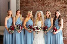 powder blue bridesmaid dresses - photo by Priscila Valentina http://ruffledblog.com/long-beach-glam-loft-wedding