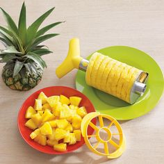 Pineapple Slicer and Dicer: This cleverly designed tool peels, cores, slices and dices a pineapple in two simple steps.