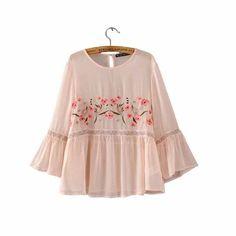 Women sweet flower embroidery flare sleeve shirt o-neck chiffon blouse three quarter sleeve fashion casual tops blusas