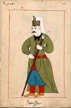Janissary. The 'Rålamb Costume Book' is a small volume containing 121 miniatures in Indian ink with gouache and some gilding, displaying Turkish officials, occupations and folk types. They were acquired in Constantinople in 1657-58 by Claes Rålamb who led a Swedish embassy to the Sublime Porte, and arrived in the Swedish Royal Library / Manuscript Department in 1886.