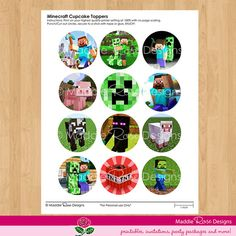 """Minecraft Cupcake Toppers - INSTANT DOWNLOAD Printable 2"""" Birthday Party Circles Tags  - DIY Favors"""