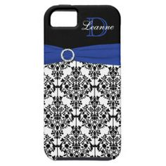 Monogram Blue Black White Damask iPhone 5 Case iPhone 5 Case