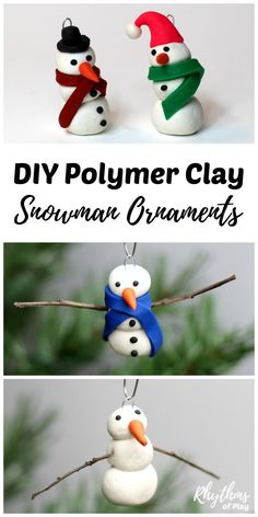 Making a homemade DIY polymer clay Snowman ornament is a simple craft for both kids and adults to make. Handmade ornaments like these easy snowmen are perfect for the Christmas tree. They make beautiful decorations and a great kid-made gift idea!
