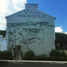"""In Progress Downtown: New """"Welcome to Phoenixville"""" Mural - See more at: http://phoenixville.thetowndish.com/2015/07/in-progress-downtown-new-welcome-to-phoenixville-mural/#sthash.hnucAt1y.dpuf"""