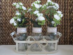 Rustic Wedding Centerpiece Wedding Flower Vases by RusticBella, $29.00