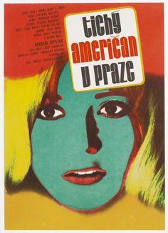 Beautiful #MoviePoster designed by award winning poster designer / artist Karel Vaca in Czechoslovakia, 1977   price: £55.00   title: Quiet American in Prague, #VintagePoster #70sMoviePoster #GraphicDesign