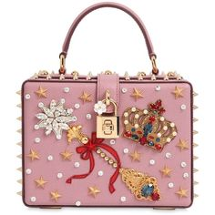 Dolce & Gabbana Women Magic Wand Embellished Leather Dolce Bag ($4,415) ❤ liked on Polyvore featuring bags, handbags, shoulder bags, pink, pink leather purse, red handbags, studded purse, leather shoulder bag and pink purse