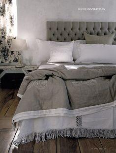 Image by Martin Hahn via Genneth Lyn. Love the bedding, tufted headboard, greige
