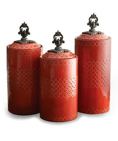 Another great find on #zulily! Red Antique Canister Set #zulilyfinds