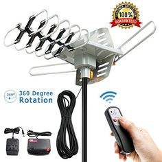Vansky Outdoor 150 Mile Motorized 360 Degree Rotation OTA Amplified HD TV Antenna for 2 TVs Support - Channels Wireless Remote Control - Coax Cable Best Outdoor Tv Antenna, Diy Tv Antenna, Wifi Antenna, Satellite Dish, Usb, Digital Tv, Remote, Ebay, Ham Radio