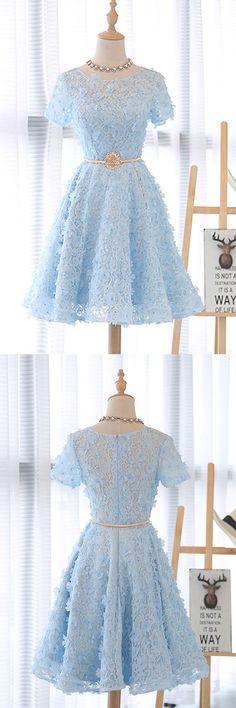Cute 3D lace short blue prom dress, blue homecoming dress, blue lace short dress