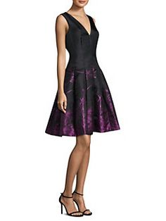 Carmen Marc Valvo - Floral Skirt Fit-and-Flare Dress