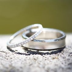 White gold and diamond eternity band with a sandblasted men's wedding band by Shaesby, congratulations to the lucky couple!