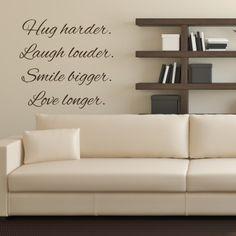 Adesivo Murale Hug, Laugh, Smile, Love | Stickers Murali