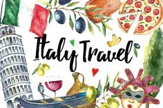 Watercolor set of Italy - Illustrations