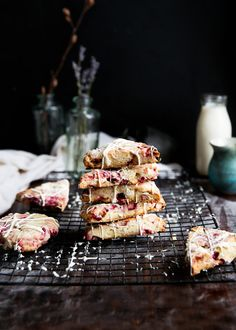 White Chocolate Raspberry Rhubarb scones that are sweet, tart, and totally breakfast-worthy.