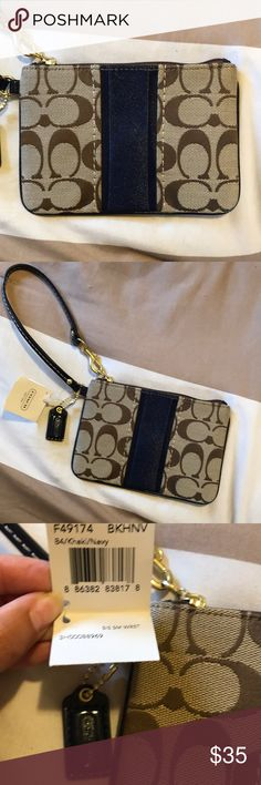 f0734d57c65 Navy Khaki Coach Wristlet NWT Never used Coach Wristlet! Intended to give  this as a