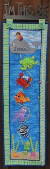"""""""Reel Me Up"""" growth chart patterns and kits available from Pastime Pieces. Featuring a reel of under the sea creatures with little boy or girl riding the whale. Growth Charts, Sea Creatures, Under The Sea, Little Boys, Whale, Boy Or Girl, Pattern Design, Kids Rugs, Quilts"""