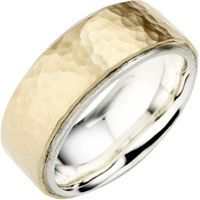 Two tone wedding ring with a hammered finish