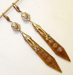 Egyptian Revival Earrings, Vintage Brass Art Deco, Honey Czech Glass Dangles, 1920s Long Statement Pharoah, Bohemian, Carved Glass Jewelry
