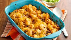 Try a sassy, biscuit-topped casserole that's a snap to put together with just four ingredients plus your favorite taco toppings.